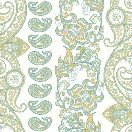 Paisley ornament floral seamless pattern. Asian vector background Ilustrace