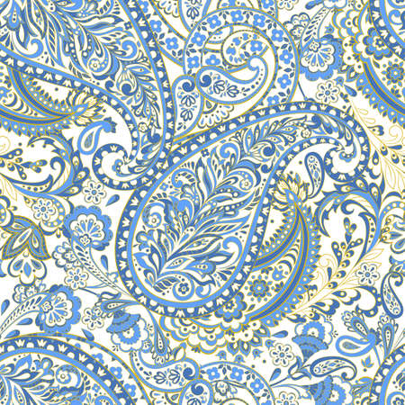 Paisley Damask seamless pattern. Floral vector background
