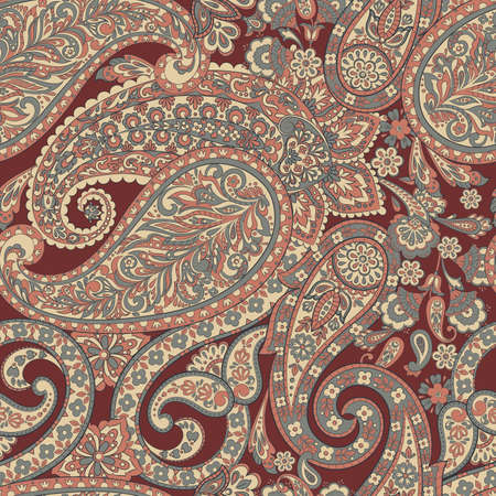 Floral Paisley seamless pattern. Vector illustration in asian textile style