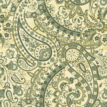 Traditional Indian Paisley pattern. Seamless vector background Illustration