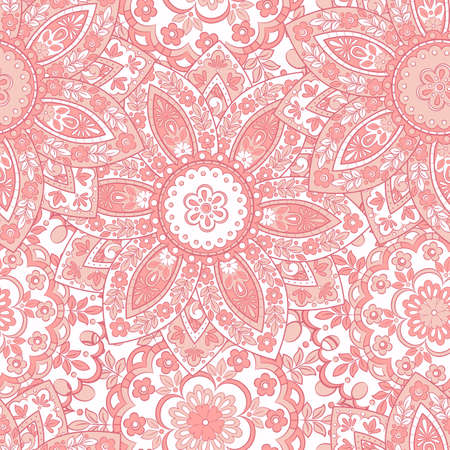 Colorful floral seamless pattern. Vector ethnic mandala background