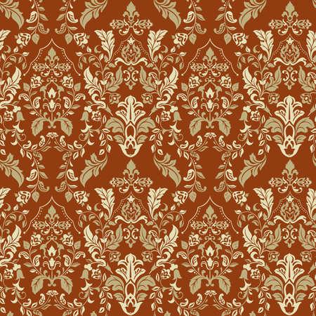 Ornate damask background. Vector vintage wallpaper Ilustração