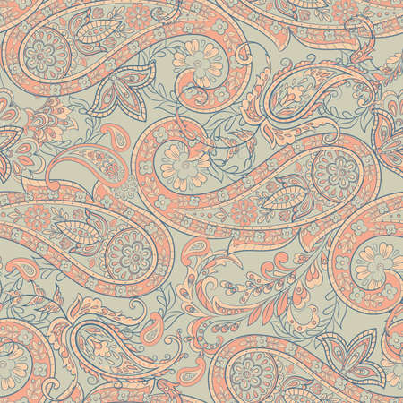 Paisley Floral ethnic Pattern. Seamless  Ornament. Ornamental motifs of the Indian fabric patterns. Vettoriali