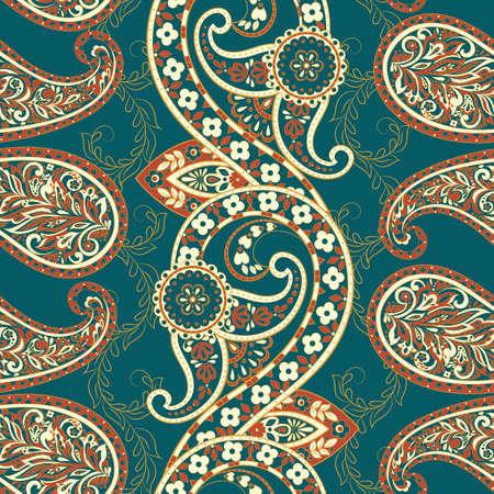 Damask paisley seamless vector pattern.