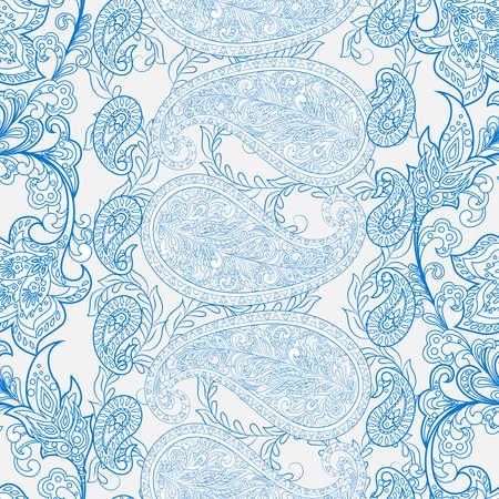 Paisley Pattern. Seamless Asian Textile Background Çizim