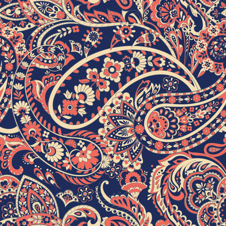 Floral vector illustration with paisley pattern. Seamless background Illustration