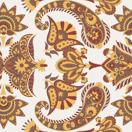 Paisley vector seamless pattern. Fantastic flower, leaves. Textile bohemian print. Batik painting. Vintage Stock Vector - 122717061