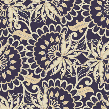 ethnic flowers seamless vector pattern. floral vintage background Ilustrace