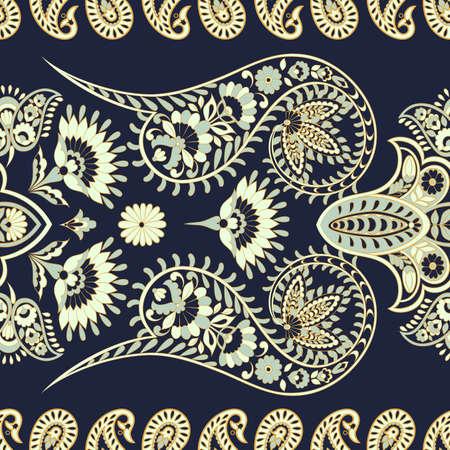 Paisley Floral patrón étnico oriental. Ornamento árabe sin costuras. Motivos ornamentales de los patrones de tela indios. Ilustración de vector