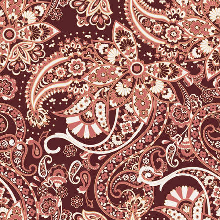 Paisley damask background. Vector vintage pattern