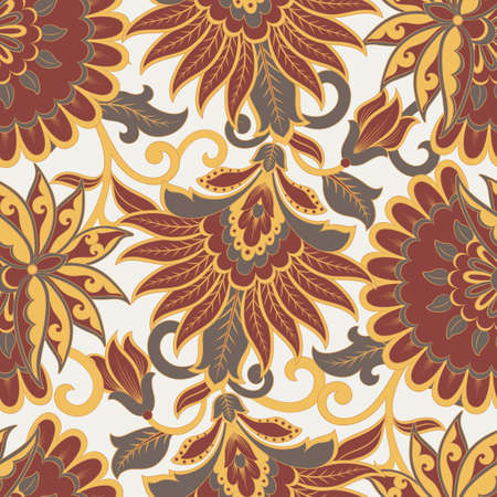 Floral vector seamless pattern. Fantastic flower, leaves. Textile bohemian print. Batik painting. Vintage Stock Vector - 122717094