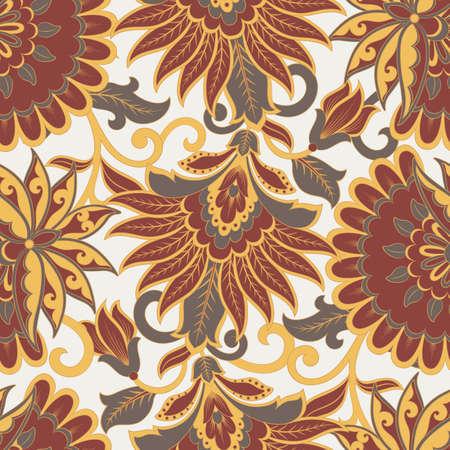 Floral vector seamless pattern. Fantastic flower, leaves. Textile bohemian print. Batik painting. Vintage