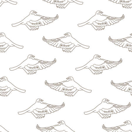 Flying birds seamless pattern. Vector background Illustration