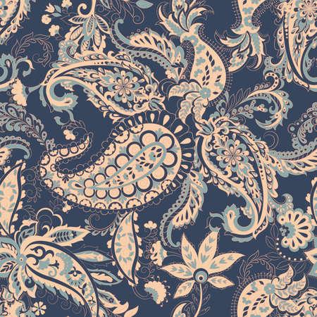 Paisley vector seamless pattern. Fantastic flower, leaves. Batik style painting. Vintage background