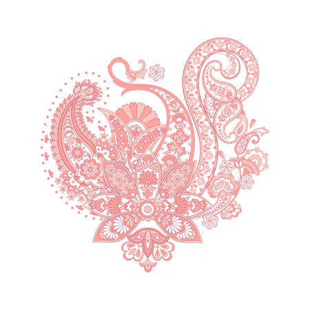 Isolated indian pattern with paisley ornament
