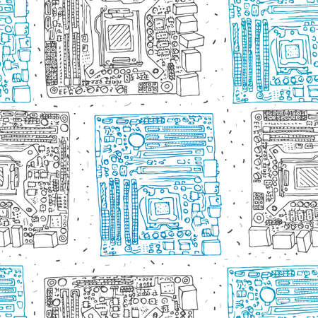 Motherboard hand drawn seamless pattern. Electronic component of desktop computer