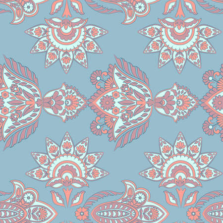 ethnic flowers seamless vector pattern. floral vintage background Stock Vector - 122789731