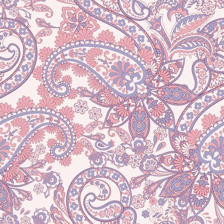 Paisley vector seamless pattern. Fantastic flower, leaves. Batik style painting. Vintage background Vektorové ilustrace