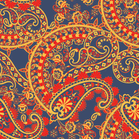 Paisley elegance seamless pattern with ethnic flowers and leaf, vector floral illustration in vintage style