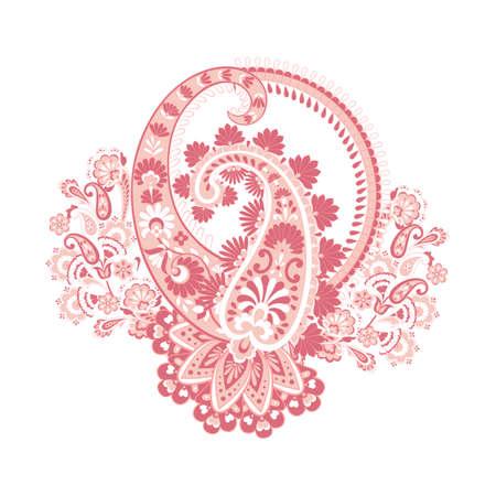 Paisley vector pattern. Fantastic flower, leaves. Textile bohemian print. Batik painting. Vintage Stock Vector - 122789741