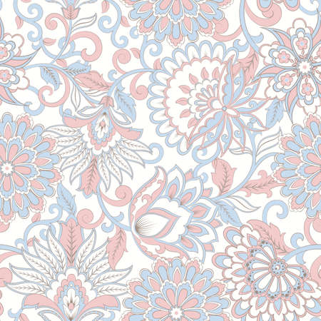 elegance seamless pattern with flowers and leaf, vector floral illustration in vintage style