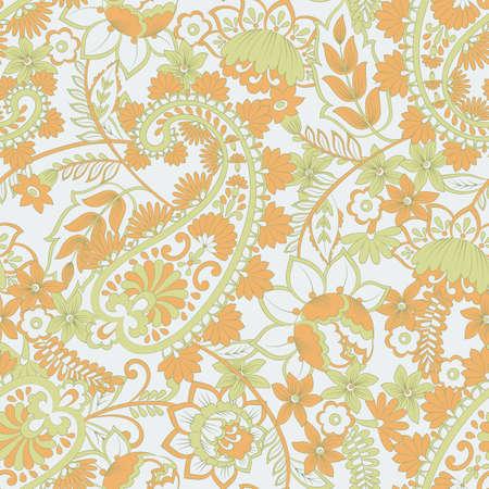 Paisley vector seamless pattern. Fantastic flower, leaves. Textile bohemian print. Batik painting. Vintage Stock Vector - 122655709