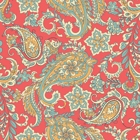 vintage floral seamless patten with paisley ornament Vetores