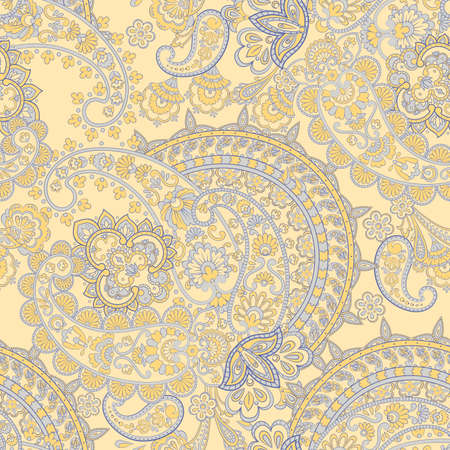 Paisley and vintage flowers seamless pattern. Ethnic floral vector background