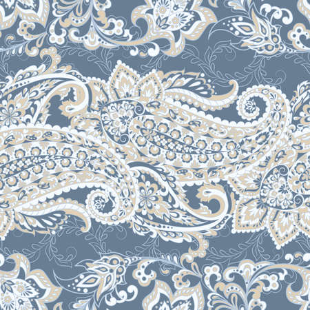 Damask paisley seamless vector pattern. Floral vintage background