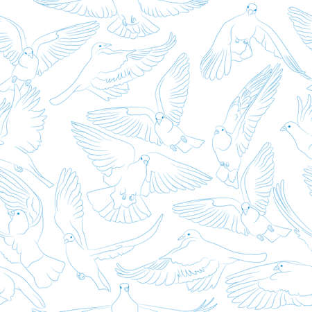Flying birds seamless pattern. Vector background Ilustração