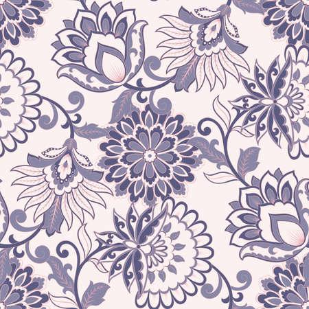 Floral seamless pattern. Vintage background in batik style Illustration