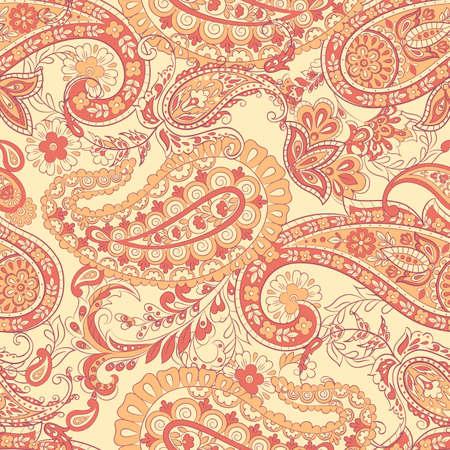 Paisley Pattern. Seamless Asian Textile Background 矢量图像