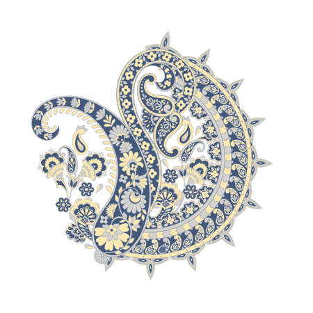 Floral isolated pattern with paisley ornament.