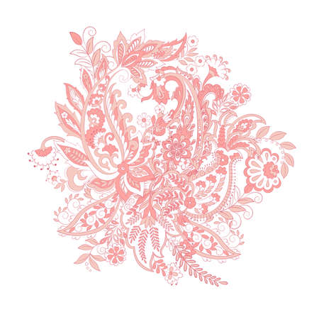 Isolated Floral paisley ornament. Vector illustration