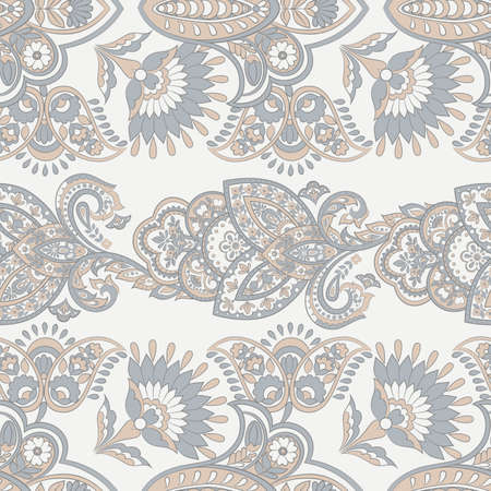 ethnic flowers seamless vector pattern. floral vintage background Illustration