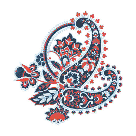 Paisley floral vector illustration in damask style
