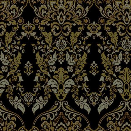 Vector floral wallpaper. Classic Baroque floral ornament. Seamless vintage pattern Vektoros illusztráció