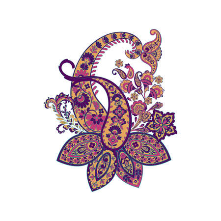 Isolated Paisley pattern in indian style Ilustracja