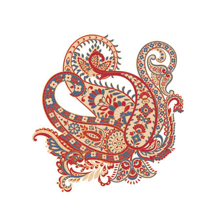 isolated paisley ornament. damask vector