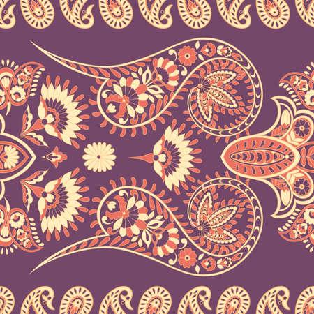 Paisley Floral patrón étnico oriental. Ornamento árabe sin costuras. Motivos ornamentales de los patrones de tela indios.