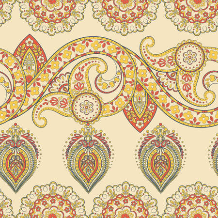 ethnic flowers seamless vector pattern. Illustration