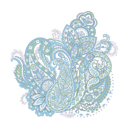 ethnic flowers and paisley vector pattern. floral vintage illustration Stock Vector - 122585737
