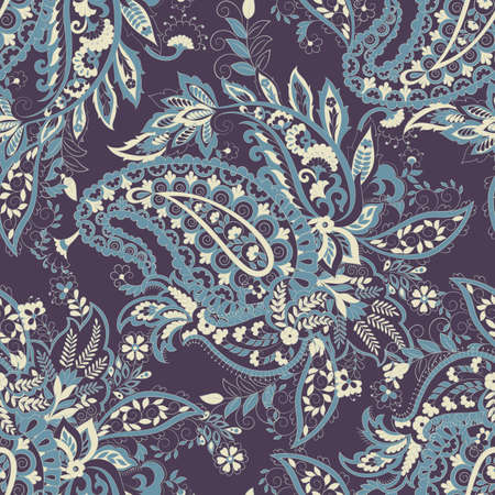 Floral seamless pattern with paisley ornament. Vector illustration Illustration