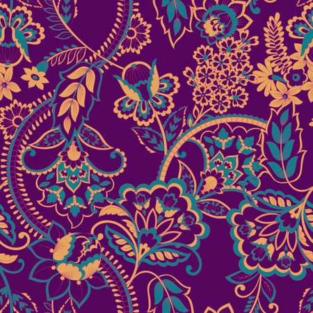 Floral Seamless vintage pattern. Vector background for textile design