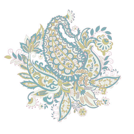 Isolated Paisley ornament in indian style. Floral vector illustration