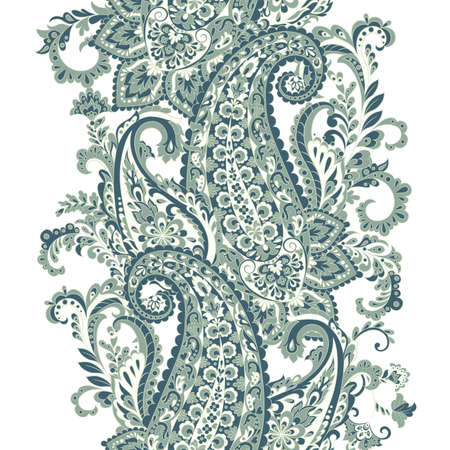 Paisley Damask ornament. Isolated Vector border Vettoriali
