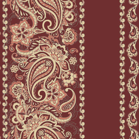Seamless Paisley pattern in indian batik  style. Floral vector illustration 일러스트