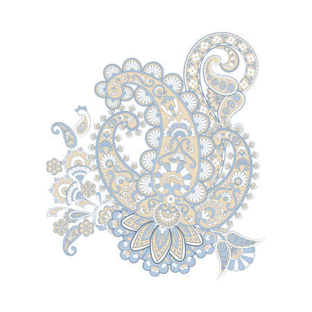 Paisley pattern with flowers in indian batik style.