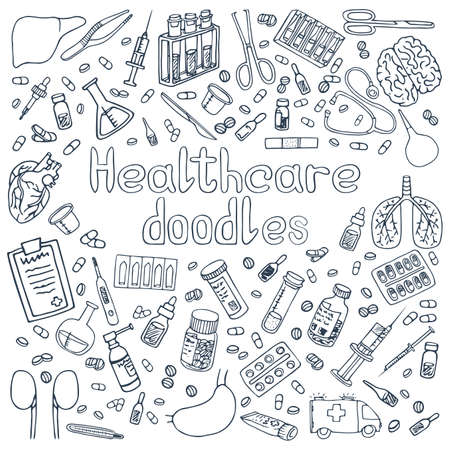 A set of hand drawn Haelthcare doodles Vector Illustration