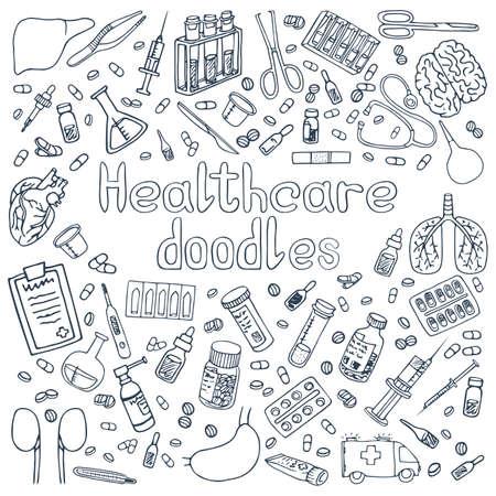 Ein Satz handgezeichneter Haelthcare-Doodles Vektorgrafik